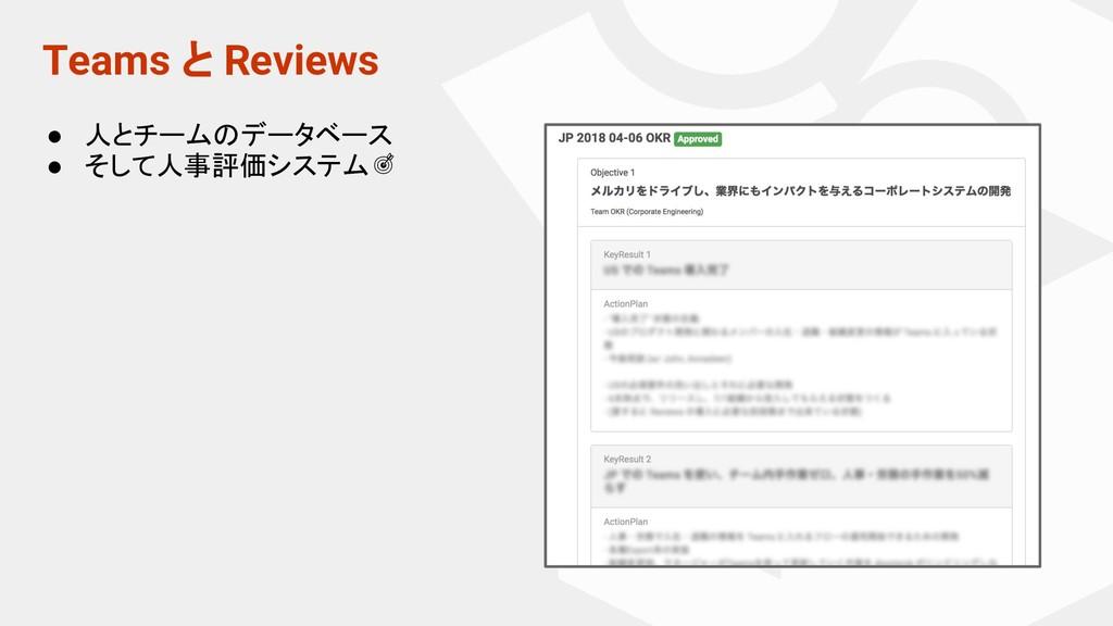 Teams と Reviews ● 人とチームのデータベース ● そして人事評価システム