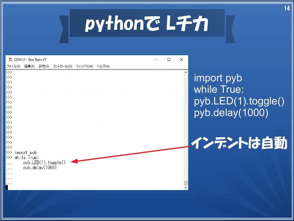 14 pythonで動かす 代表Lチカ import pyb while True: pyb....