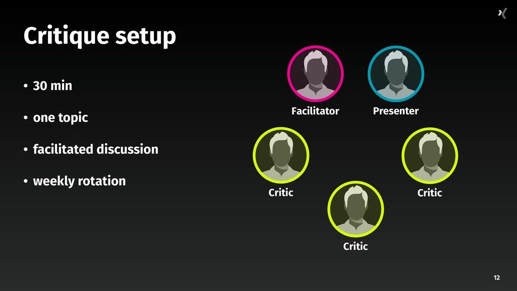 12 Critique setup • 30 min • one topic • facili...