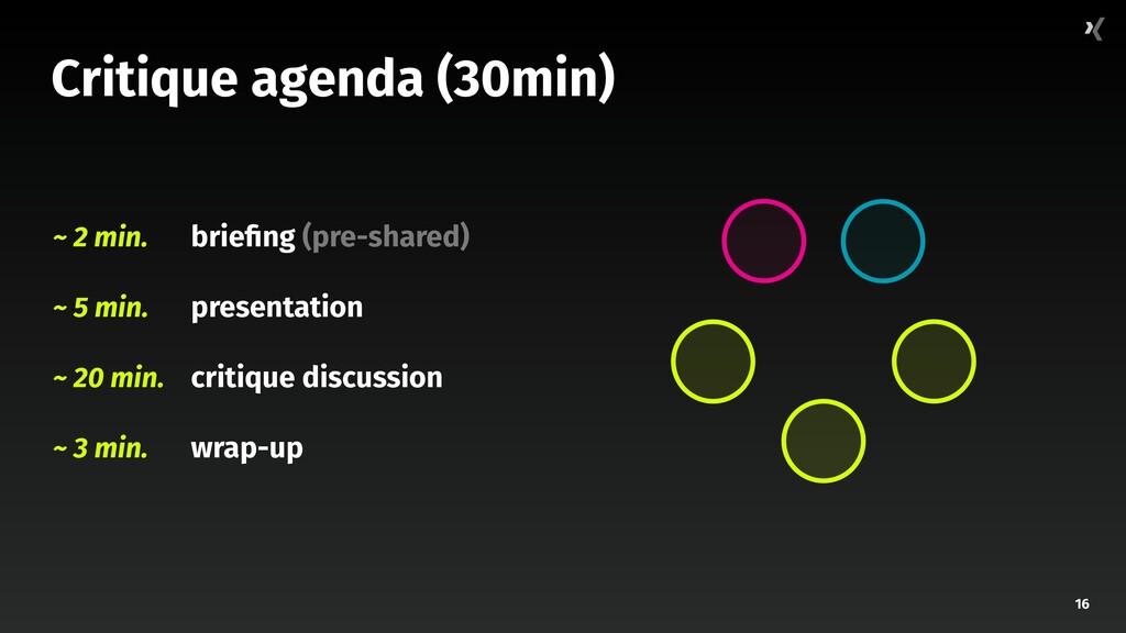 16 Critique agenda (30min) brie ng (pre-shared)...