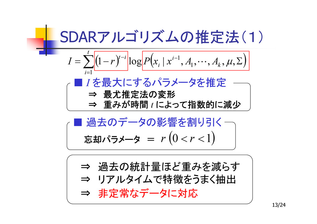 13/24 SDAR ( ) ( ) Σ − = − = − ∑ , , , , , | lo...