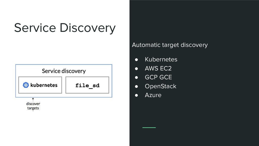 Service Discovery Automatic target discovery ● ...