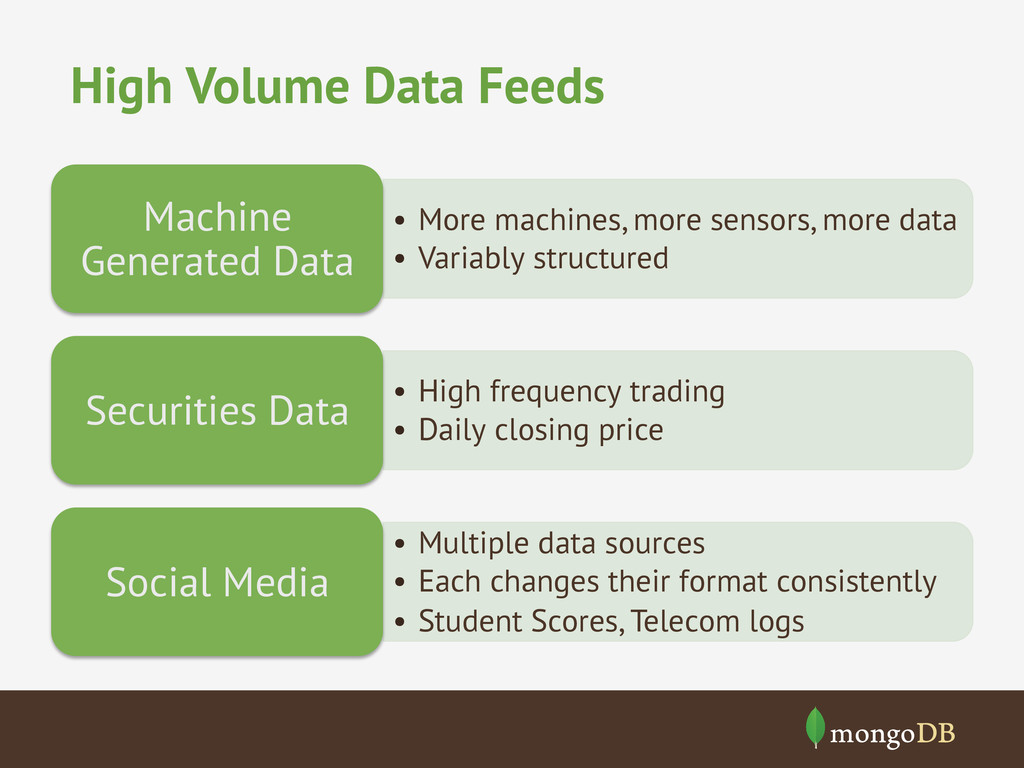 High Volume Data Feeds • More machines, more s...