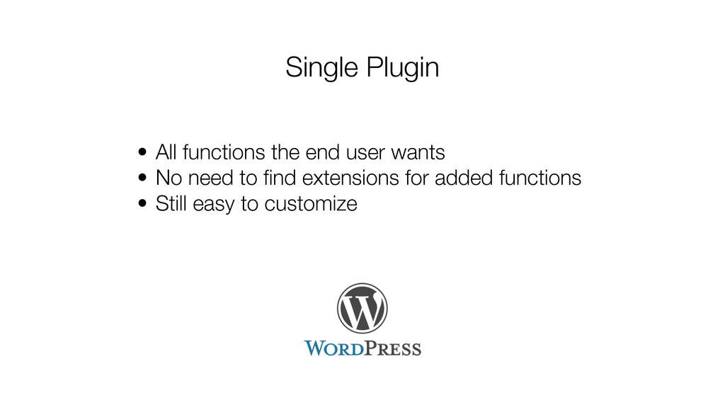 Single Plugin • All functions the end user want...