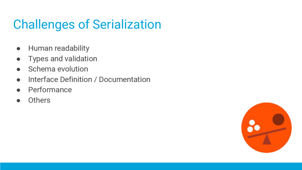 Challenges of Serialization ● Human readability...