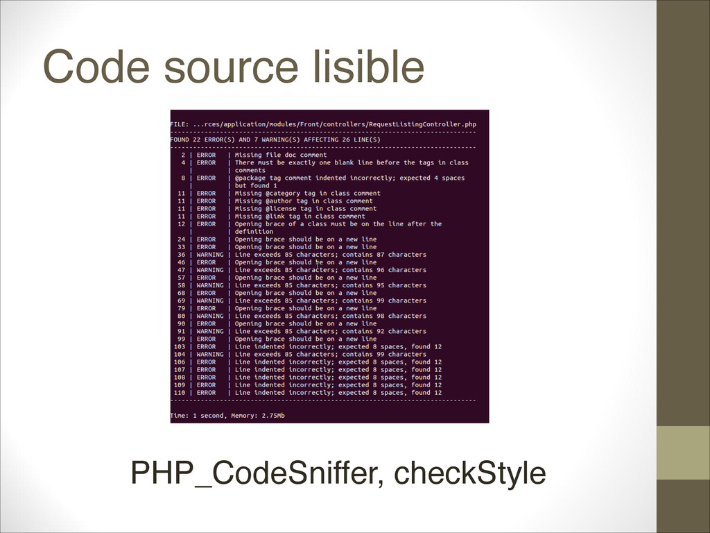 Code source lisible PHP_CodeSniffer, checkStyle