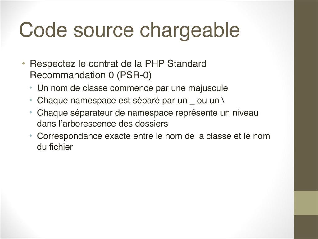 Code source chargeable • Respectez le contrat d...