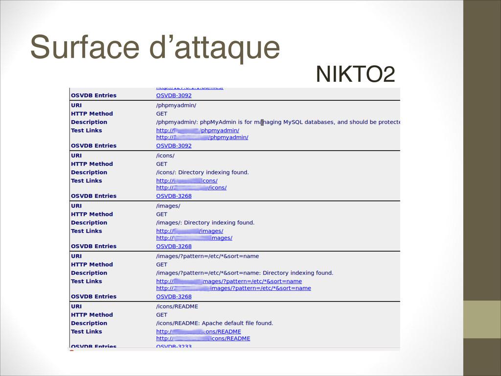 Surface d'attaque NIKTO2