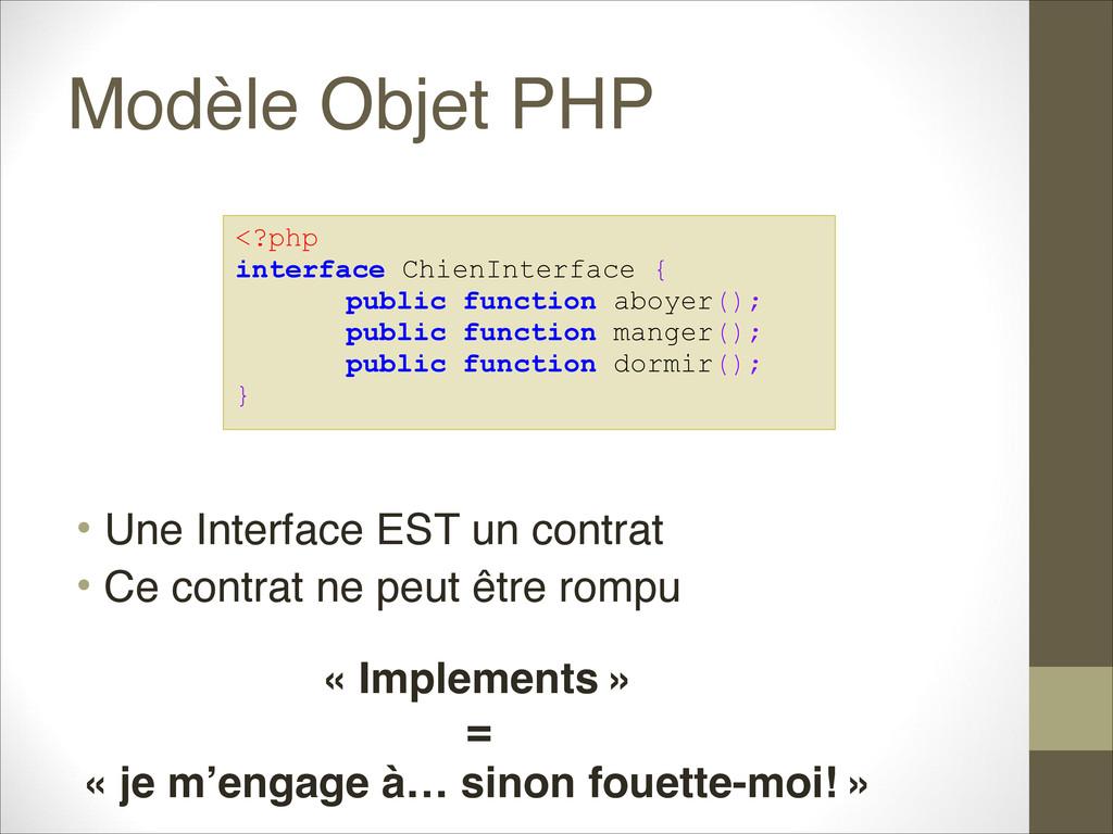 Modèle Objet PHP • Une Interface EST un contrat...