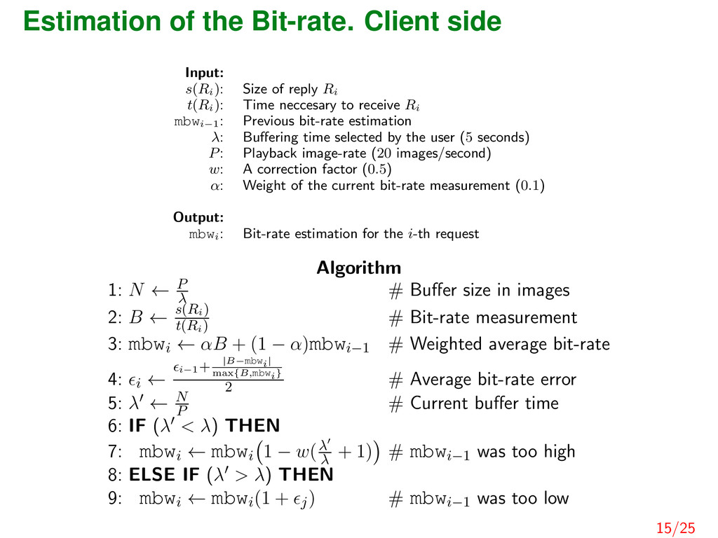 Estimation of the Bit-rate. Client side Input: ...