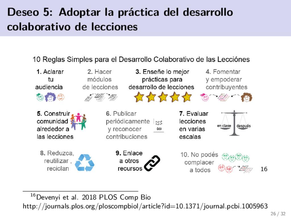 Deseo 5: Adoptar la práctica del desarrollo col...