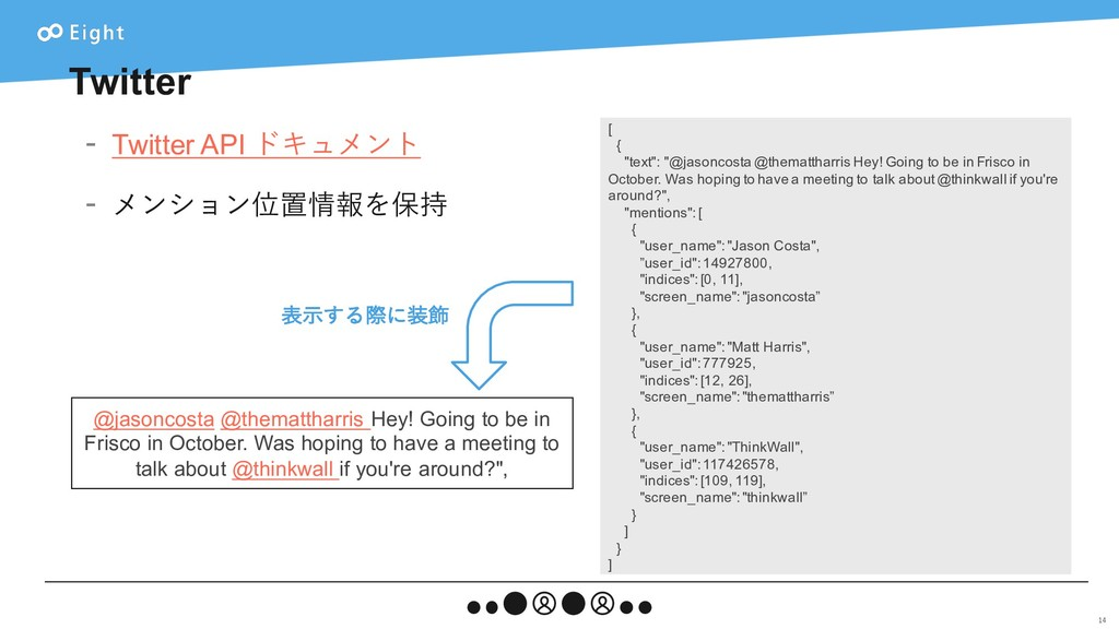 Twitter - Twitter API ドキュメント - メンション位置情報を保持 14 ...