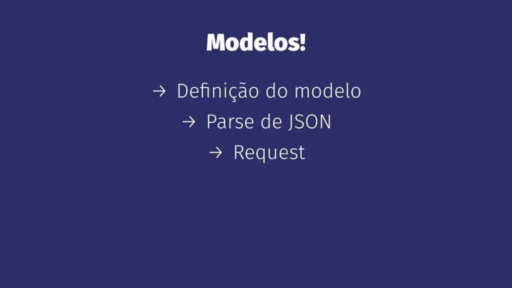 Modelos! → Definição do modelo → Parse de JSON →...