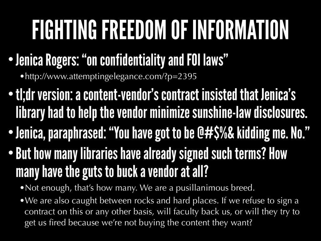 FIGHTING FREEDOM OF INFORMATION •Jenica Rogers:...
