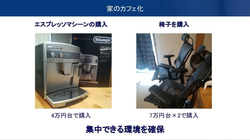 家のカフェ化 エスプレッソマシーンの購入 4万円台で購入 椅子を購入 7万円台×2で購入 集中...