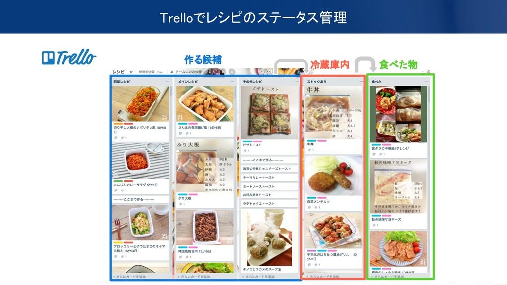 Trelloでレシピのステータス管理 作る候補 食べた物 冷蔵庫内