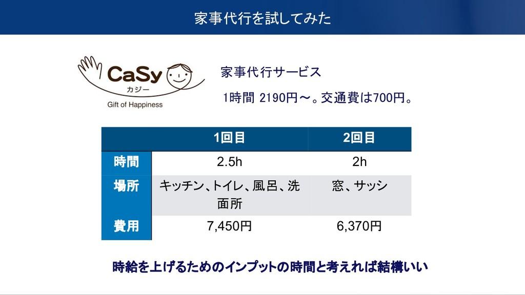 家事代行を試してみた 1時間 2190円〜。交通費は700円。 家事代行サービス 1回目 2回...