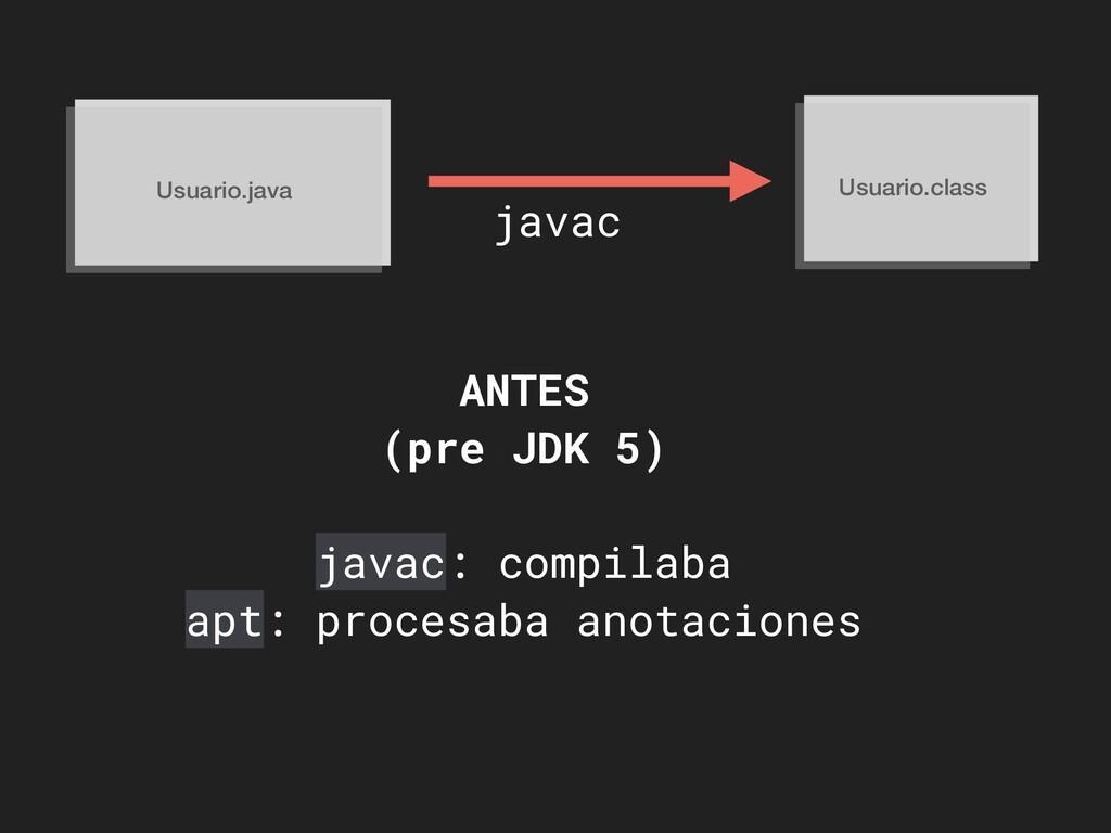 Usuario.java Usuario.class javac ANTES (pre JDK...