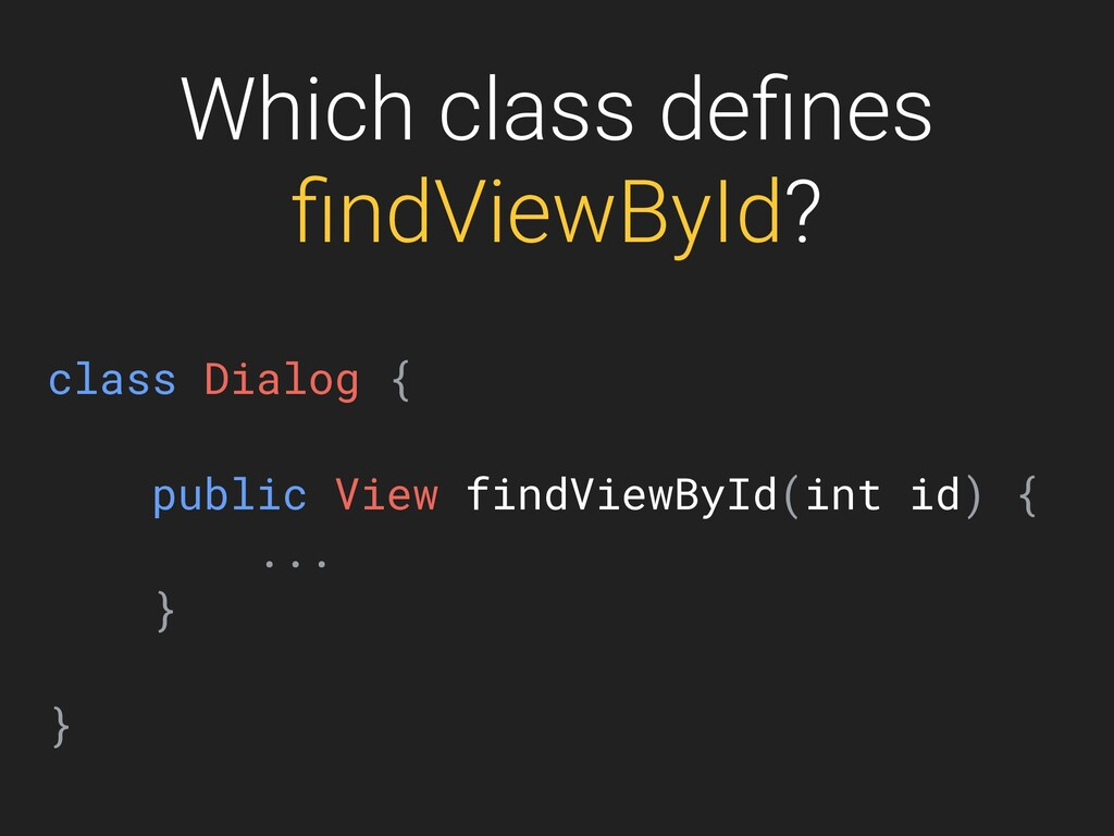 Which class defines findViewById? class Dialog { ...