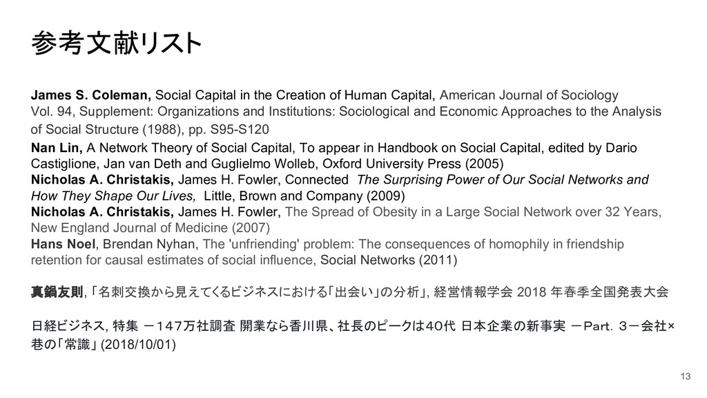 参考文献リスト James S. Coleman, Social Capital in the...