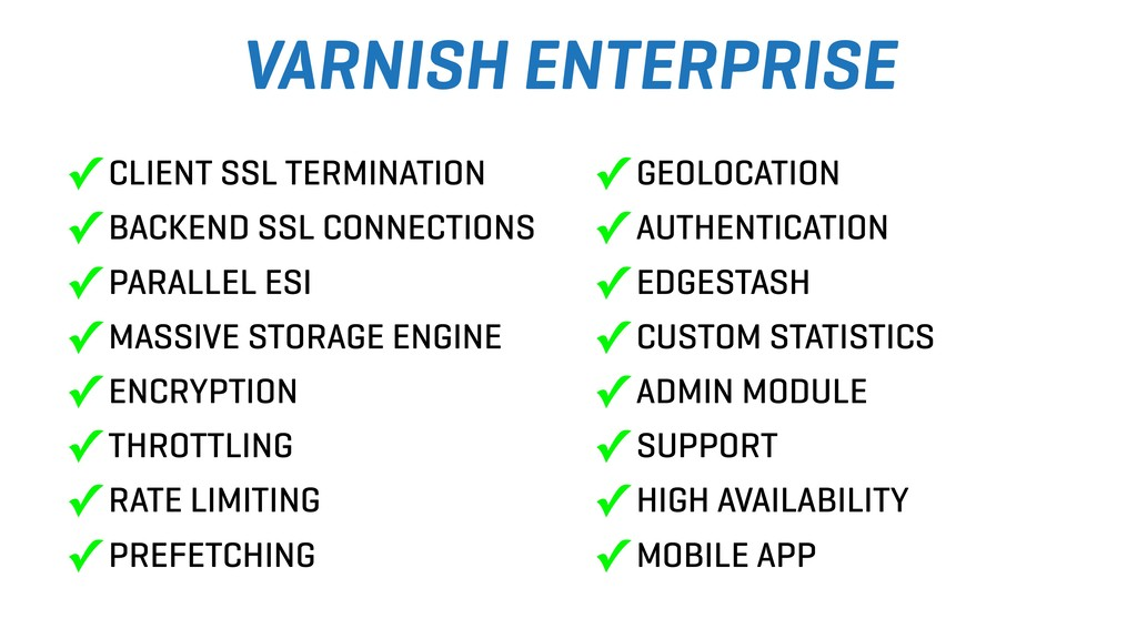 VARNISH ENTERPRISE ✓ CLIENT SSL TERMINATION ✓ B...