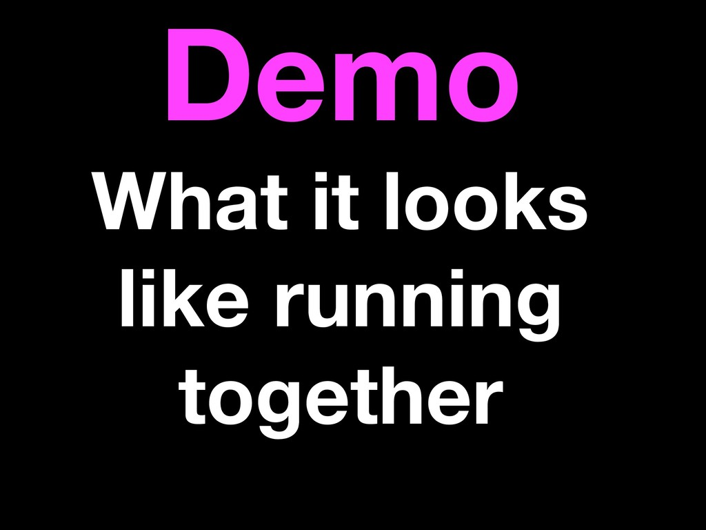 Demo What it looks like running together