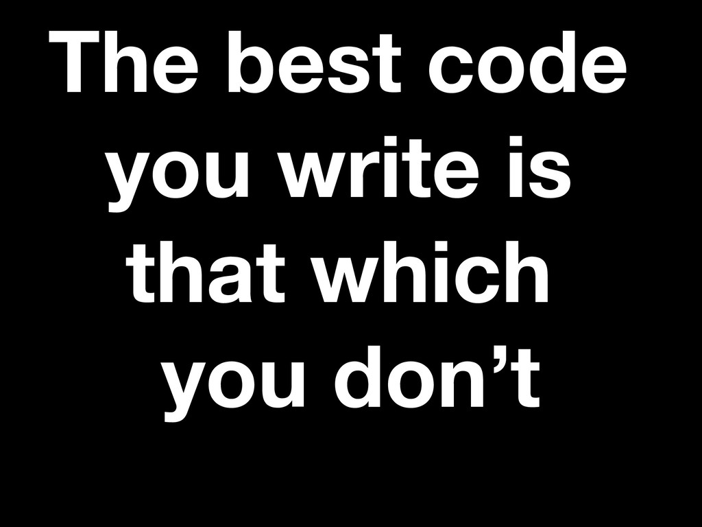 The best code you write is that which you don't