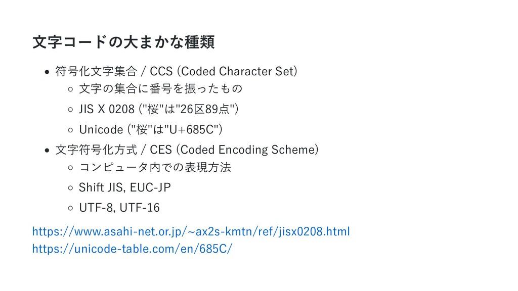 文字コードの大まかな種類 符号化文字集合 / CCS (Coded Character Set...