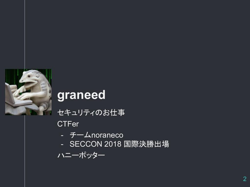 自己紹介 graneed セキュリティのお仕事 CTFer - チームnoraneco - S...
