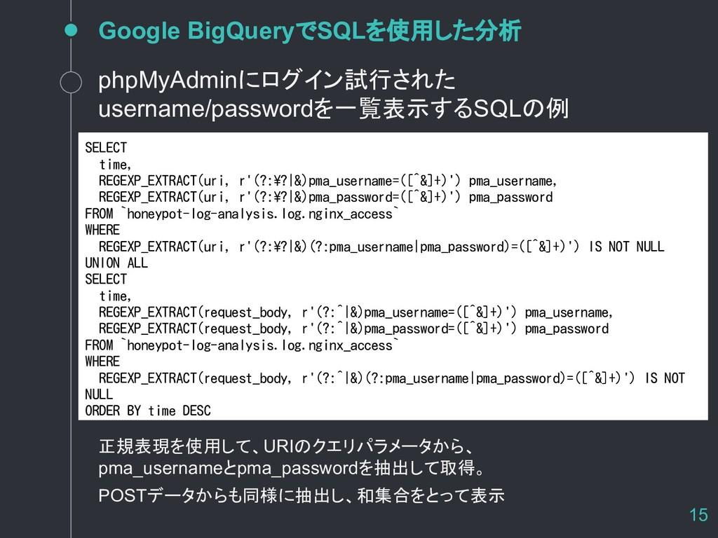 Google BigQueryでSQLを使用した分析 15 SELECT time, REGE...