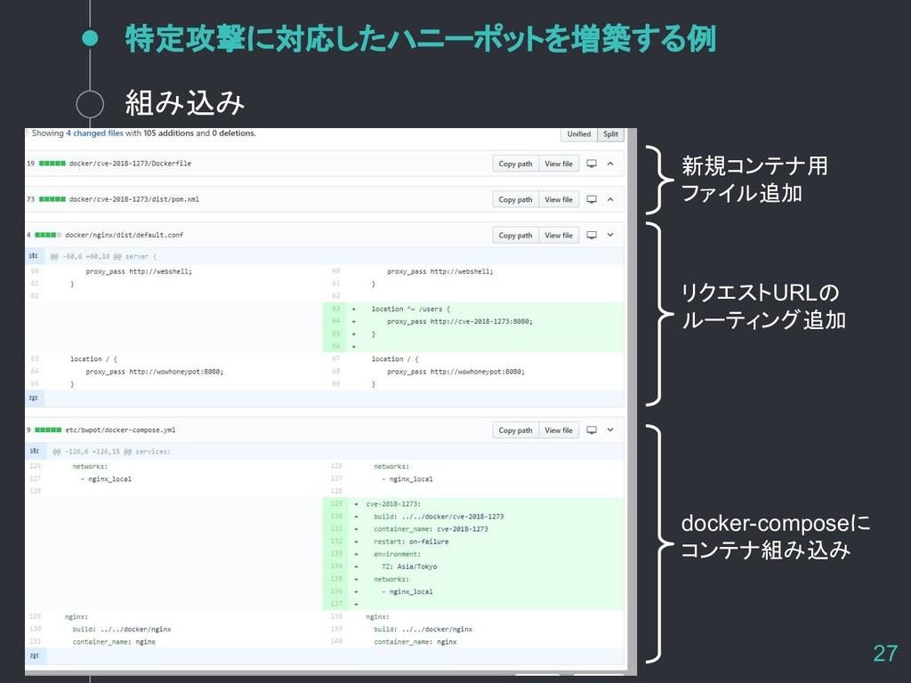 特定攻撃に対応したハニーポットを増築する例 27 組み込み 新規コンテナ用 ファイル追加 リク...
