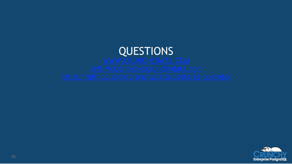 15 QUESTIONS WWW.CRUNCHYDATA.COM Jeff.McCormick...