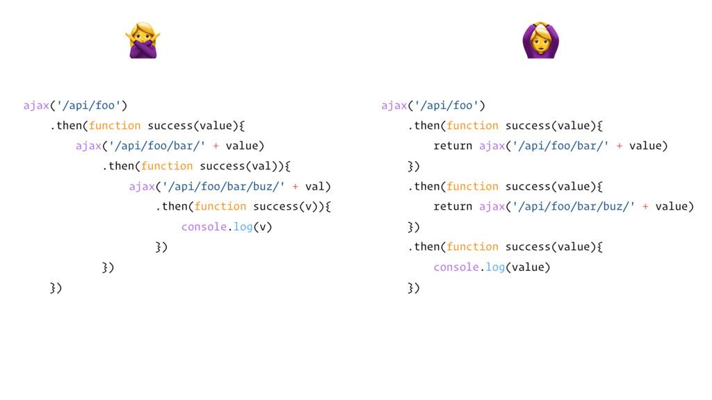 ajax('/api/foo') .then(function success(value){...