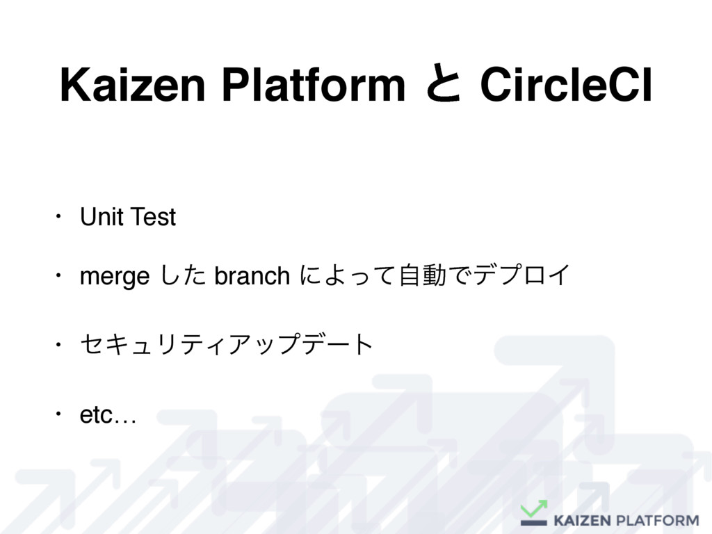 Kaizen Platform ͱ CircleCI • Unit Test • merge ...