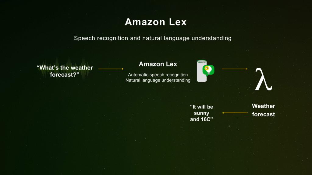 Amazon Lex Speech recognition and natural langu...