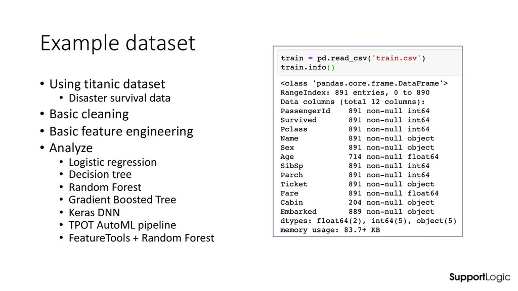 Example dataset • Using titanic dataset • Disas...