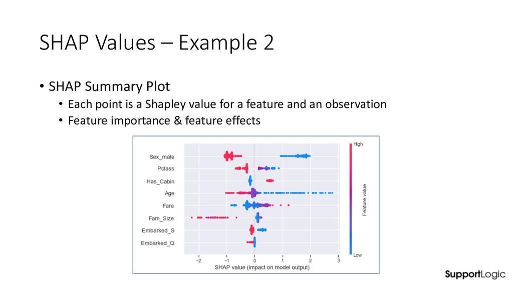 SHAP Values – Example 2 • SHAP Summary Plot • E...