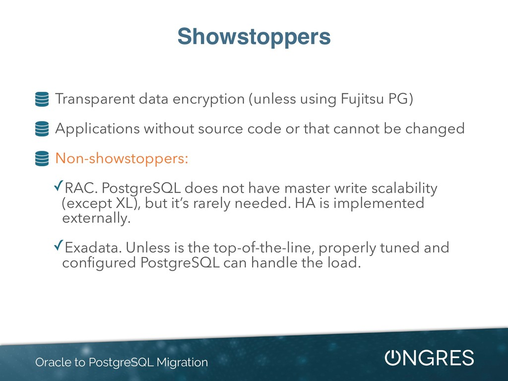 Showstoppers Transparent data encryption (unles...