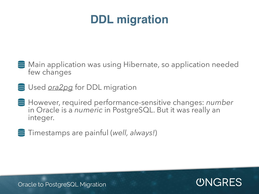 DDL migration Main application was using Hibern...