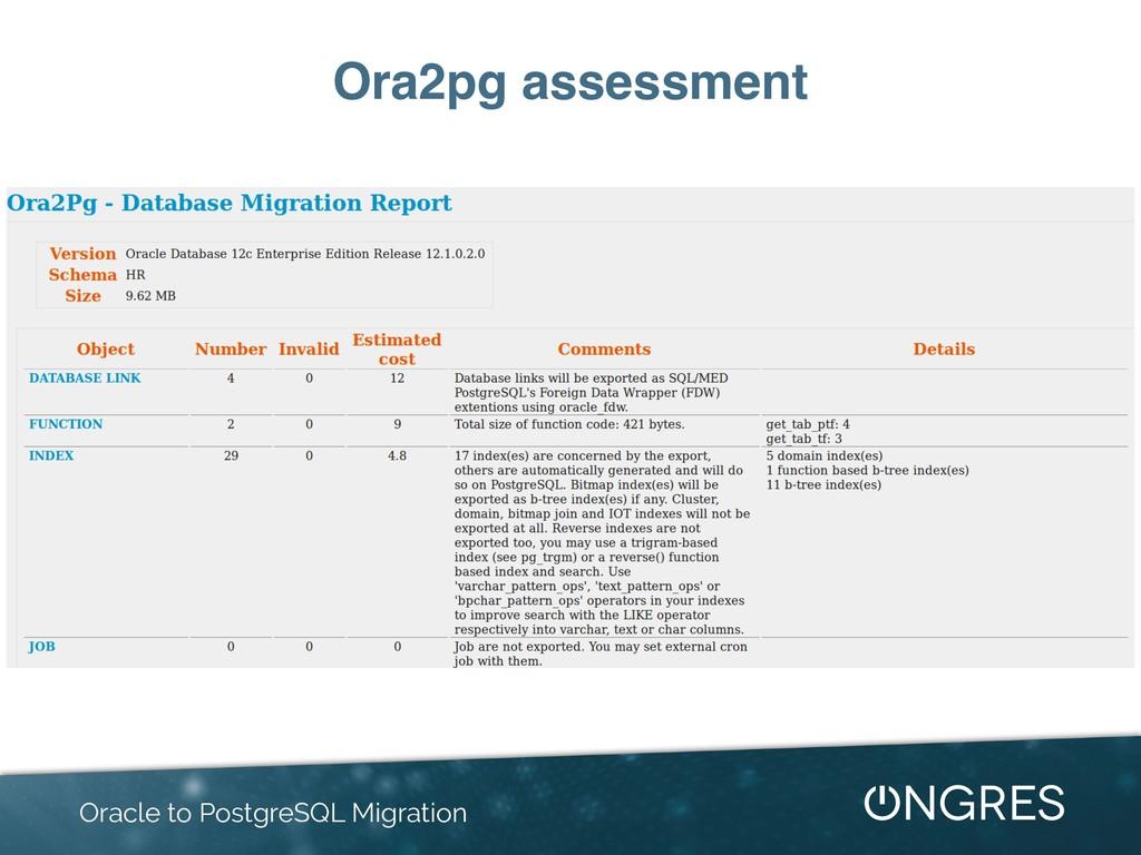 Ora2pg assessment Oracle to PostgreSQL Migration