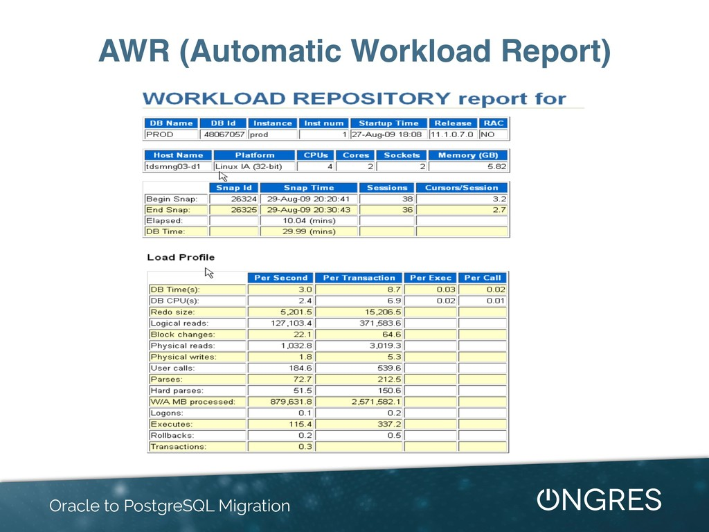 AWR (Automatic Workload Report) Oracle to Postg...