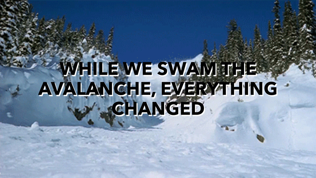 WHILE WE SWAM THE AVALANCHE, EVERYTHING CHANGED