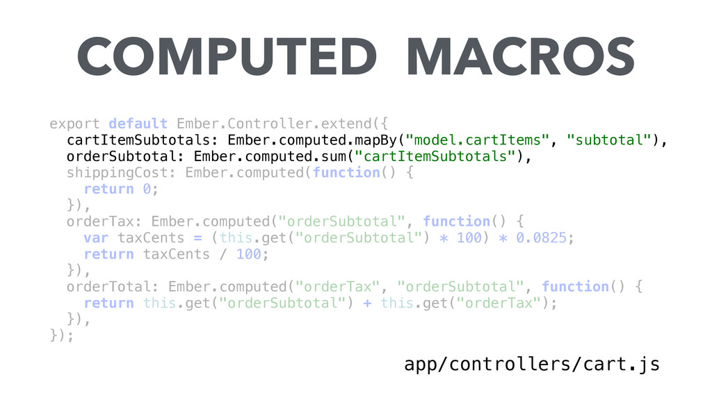 COMPUTED MACROS app/controllers/cart.js export ...