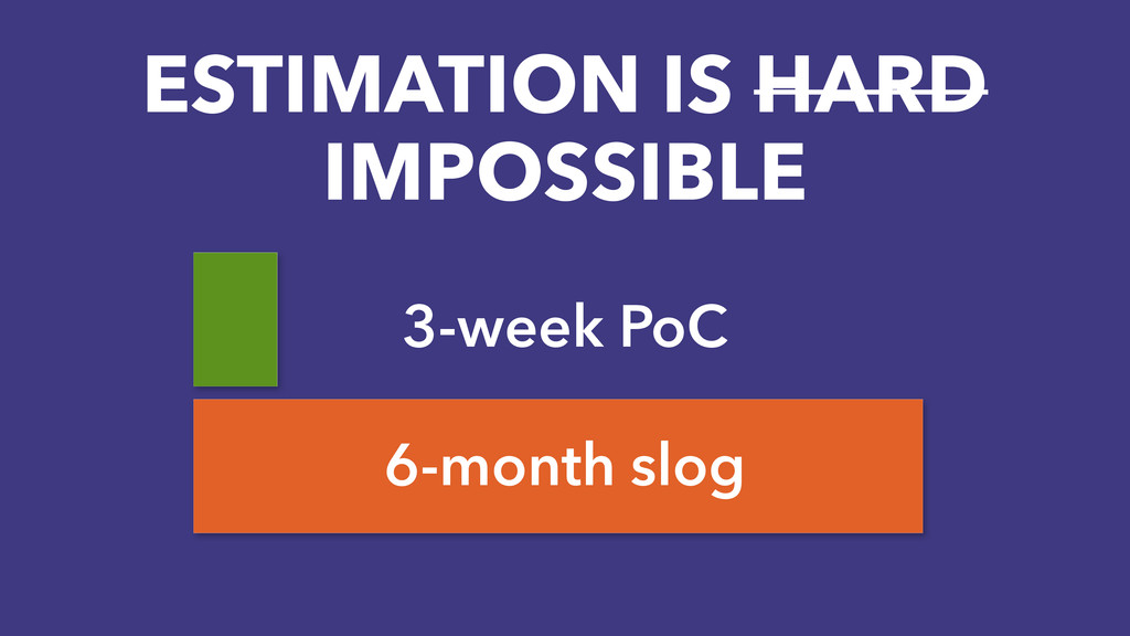 3-week PoC 6-month slog ESTIMATION IS HARD IMPO...