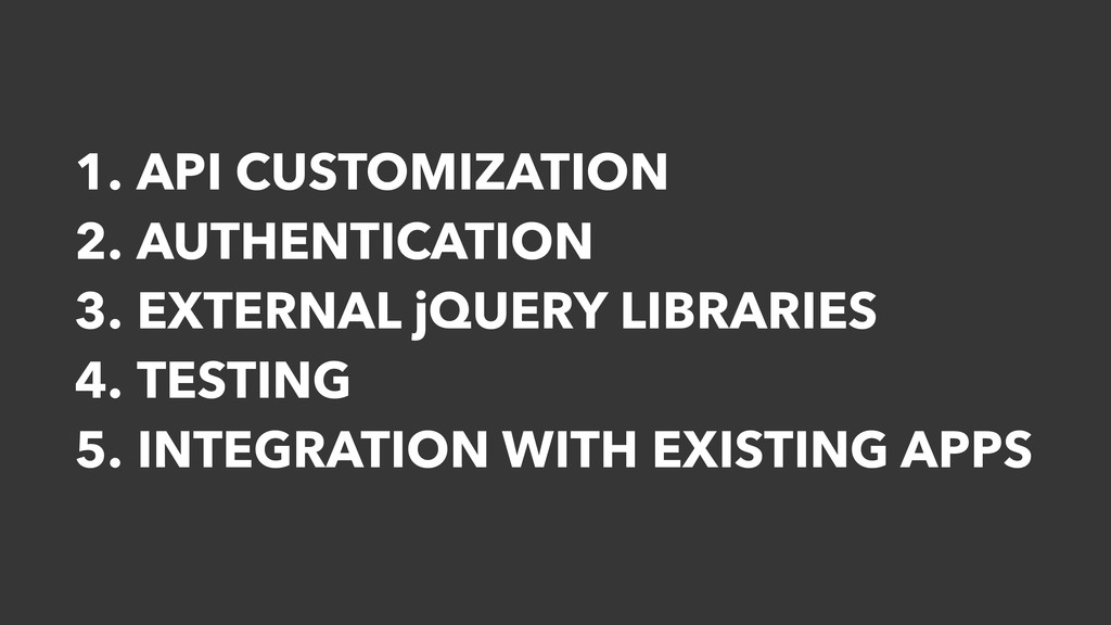 1. API CUSTOMIZATION 2. AUTHENTICATION 3. EXTER...