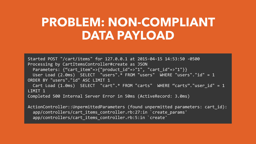 PROBLEM: NON-COMPLIANT DATA PAYLOAD Started	