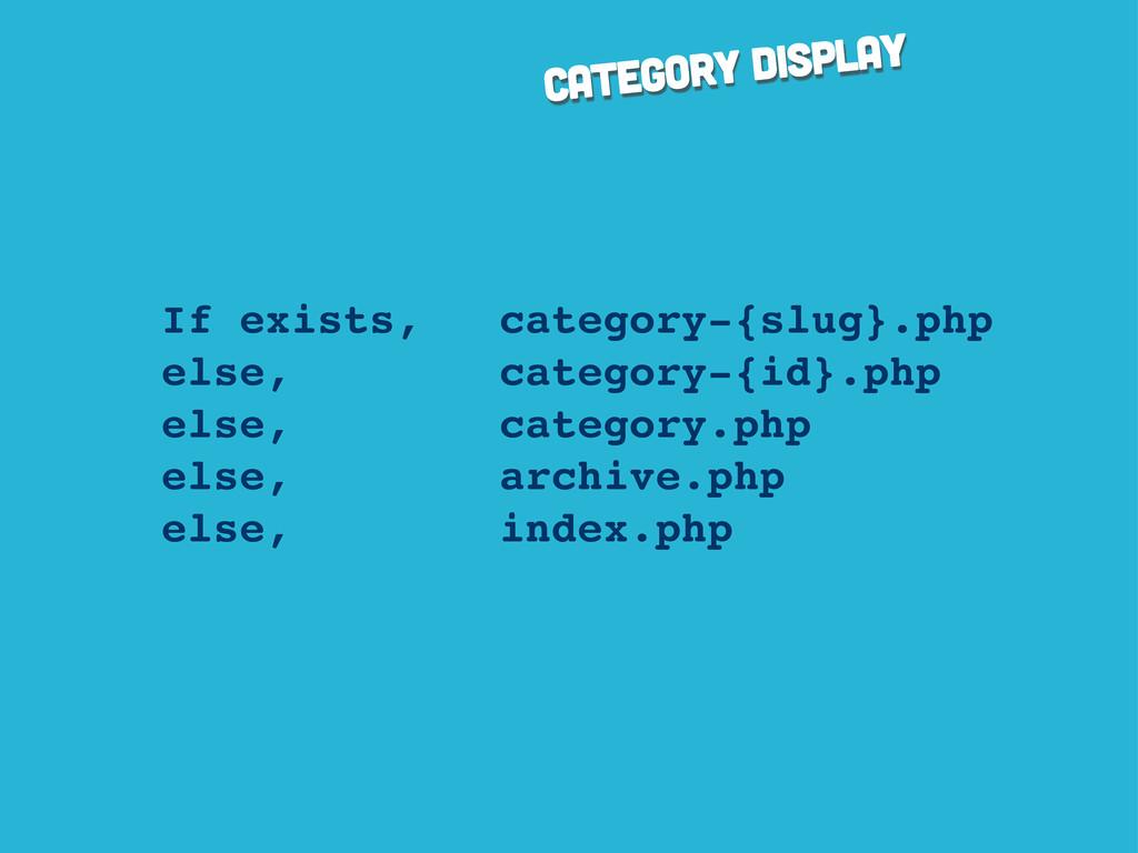 category display If exists, category-{slug}.php...