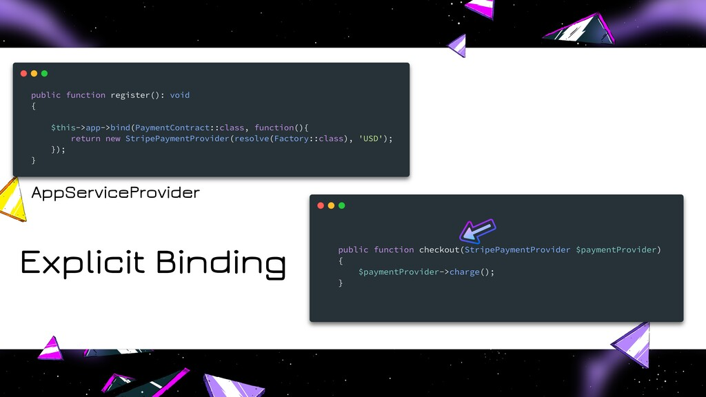 Explicit Binding AppServiceProvider