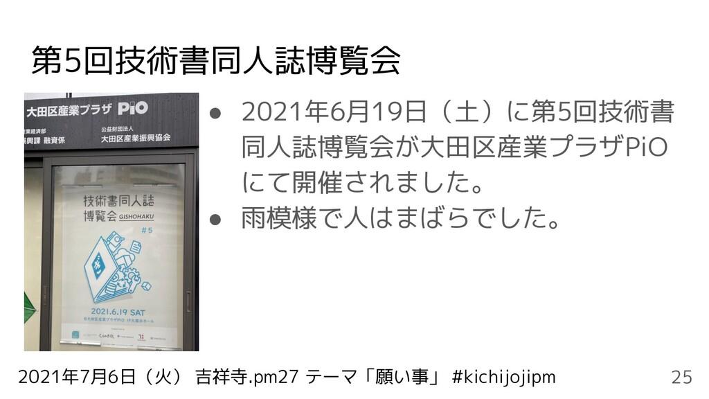 2021年7月6日(火) 吉祥寺.pm27 テーマ「願い事」 #kichijojipm 第5回...